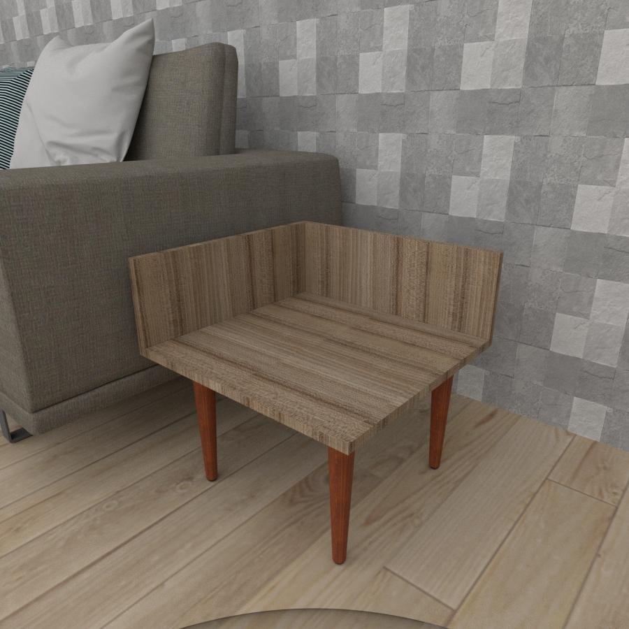 Mesa lateral simples em mdf amadeirado escuro com 4 pés retos em madeira maciça cor mogno