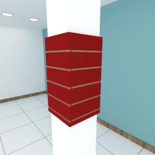 Kit 4 Painel canaletado para pilar vermelho escuro 2 peças 34(L)x60(A)cm + 2 peças 30(L)x60(A)cm