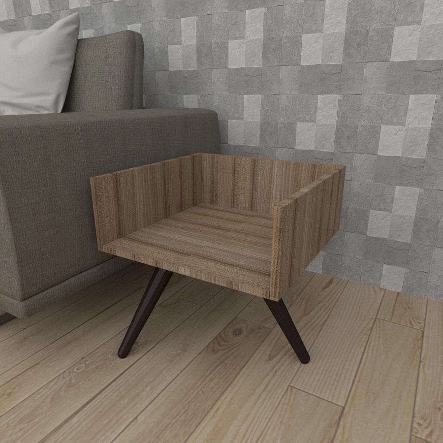 Mesa lateral minimalista em mdf amadeirado escuro com 3 pés inclinados em madeira maciça cor tabaco