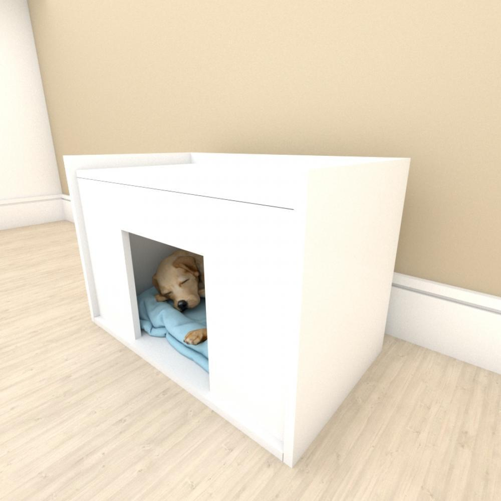 Mesa de cabeceira camapet para cachorro em mdf Branco