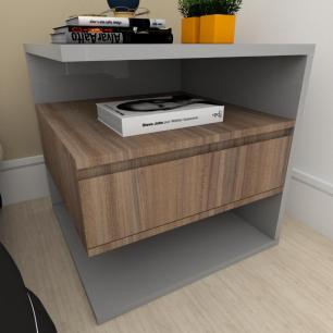 Mesa de cabeceira moderna amadeirado escuro com cinza