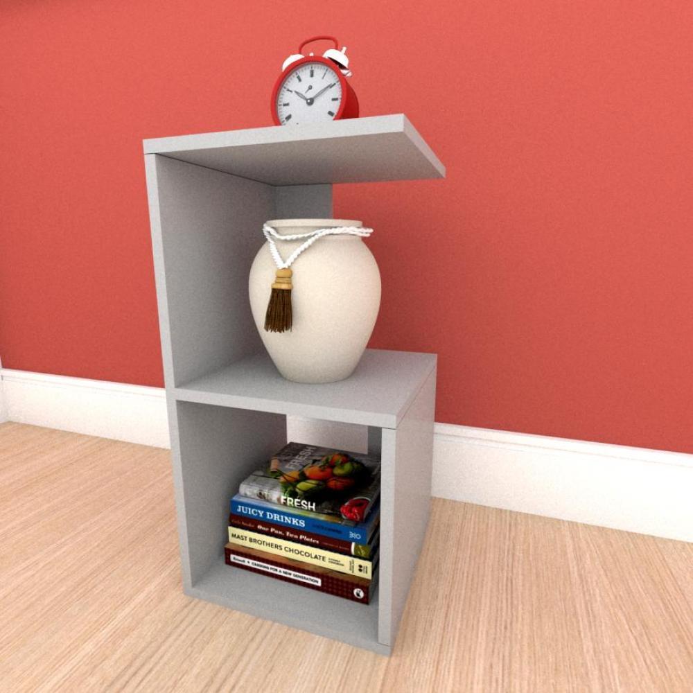 Mesa lateral para sofá formato S simples em mdf Cinza