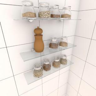Kit com tres Prateleira para cozinha 40 cm vidro temperado