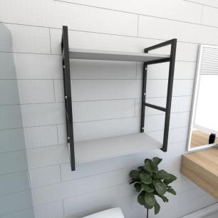 Prateleira industrial para banheiro aço cor preto prateleiras 30cm cor cinza modelo ind10cb