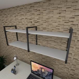 Prateleira industrial para escritório aço cor preto prateleiras 30 cm cor cinza modelo ind04ces
