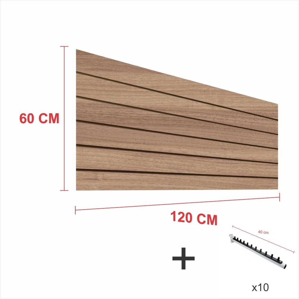 Kit Painel canaletado amadeirado alt 60 cm comp 120 cm mais 10 ganchos rt 40 cm para roupas
