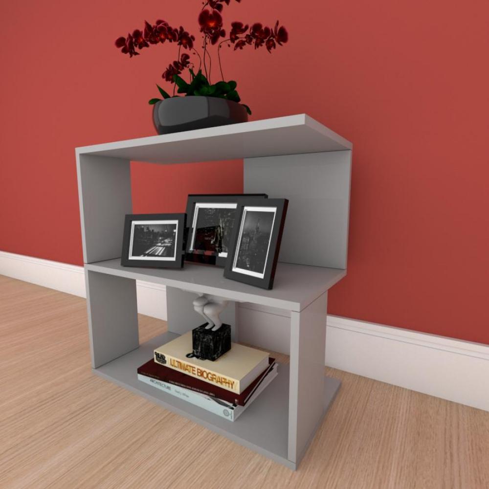 Mesa lateral para sofá formato S slim em mdf Cinza