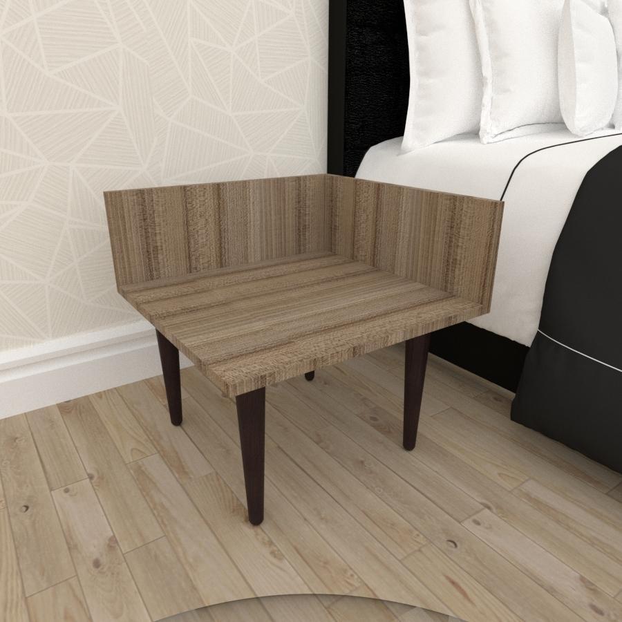 Mesa de Cabeceira simples em mdf amadeirado escuro com 4 pés retos em madeira maciça cor tabaco