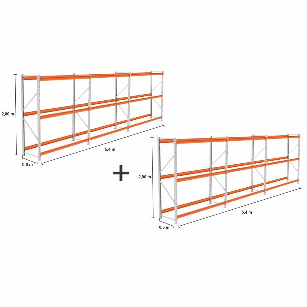 kit com 6 Gondola Mini Porta Pallet 2 Inicial + 4 cont 250KG Com 3 niveis 2,00X1,80X0,60 sem band.