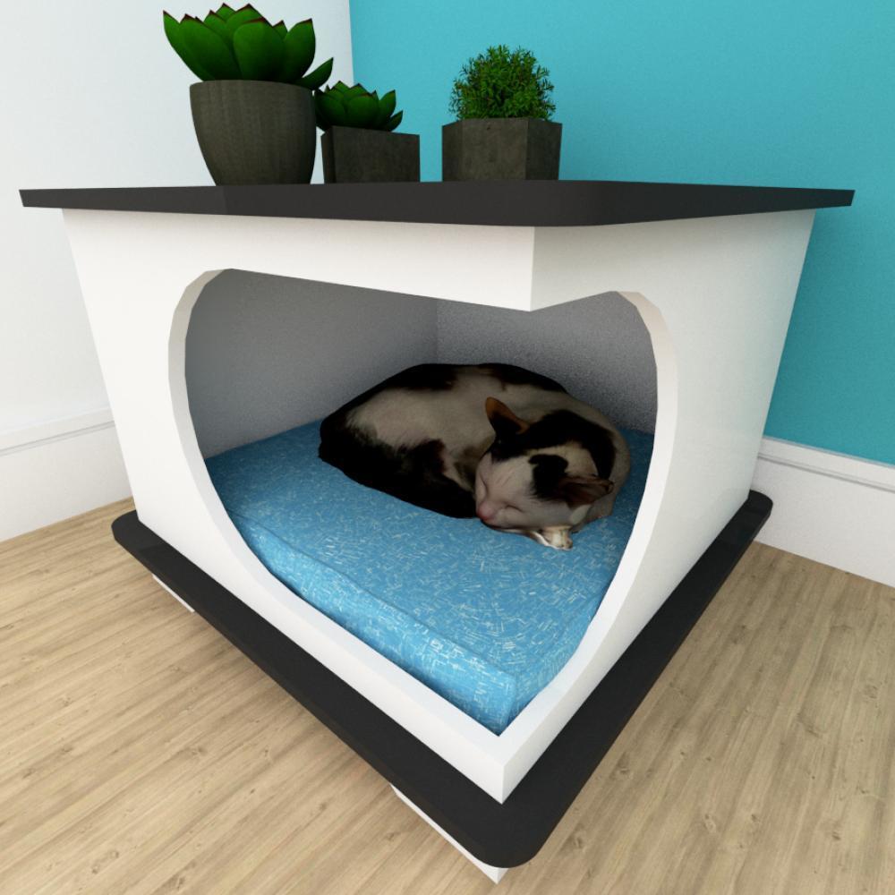 Mesa de cabeceira caminha gato mdf cor branco com preto