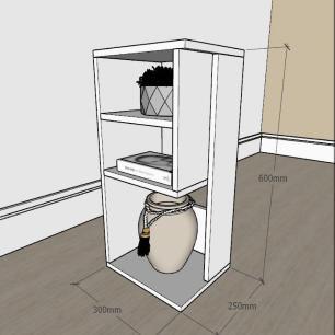 Mesa de Cabeceira slim com 3 niveis em mdf Cinza