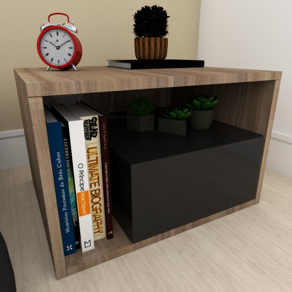 Mesa de cabeceira moderna preto com amadeirado escuro