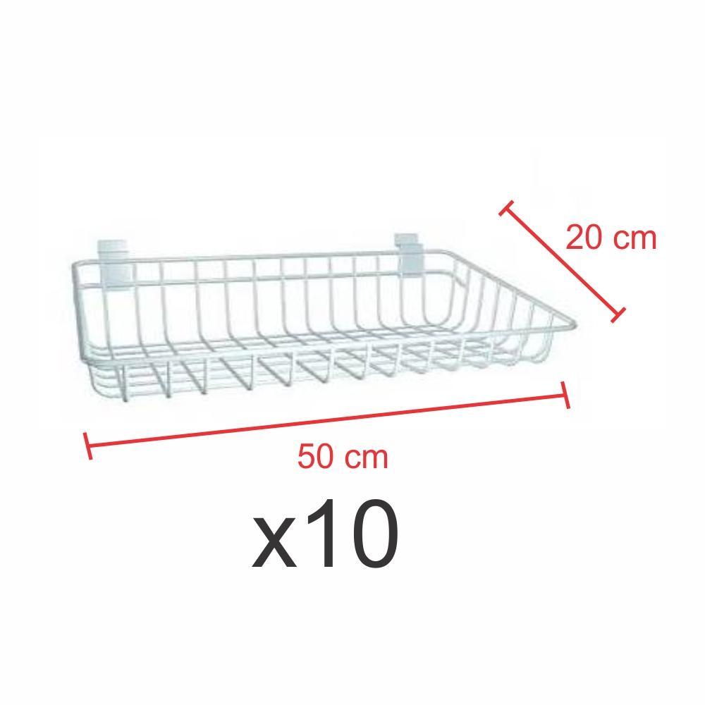 kit para expositor com 10 Cestos para painel canaletado 20x50 cm branco