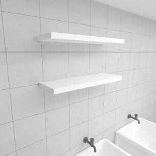 Kit 2 prateleiras para lavanderia em MDF suporte Inivisivel branco 60x20cm modelo pratlvb29