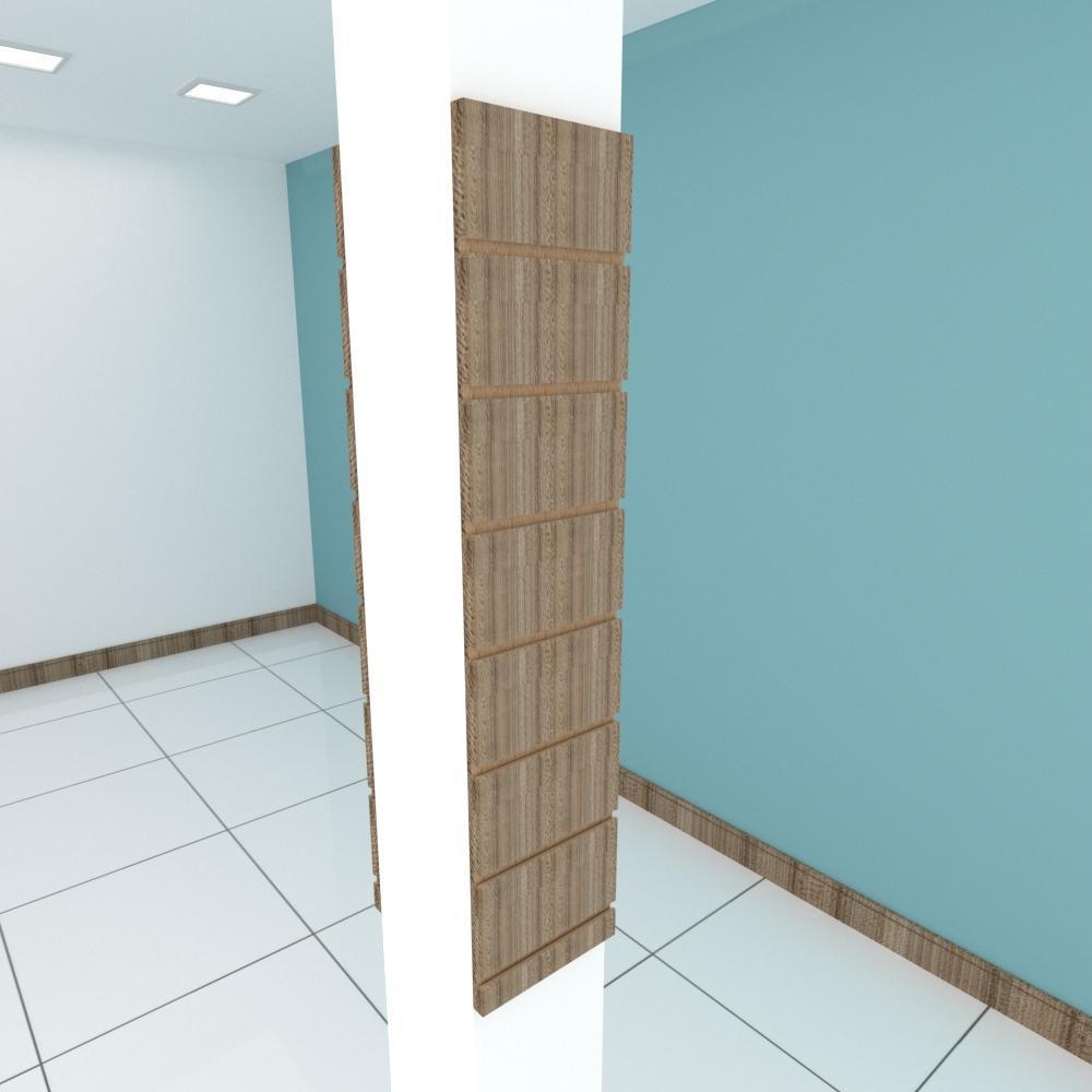 Kit 2 Painel canaletado para pilar amadeirado escuro 2 peças 20(L)x90(A)cm