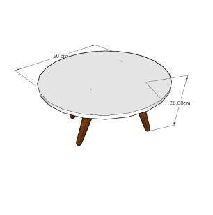 Mesa de Centro redonda em mdf amadeirado escuro com 4 pés inclinados em madeira maciça cor tabaco