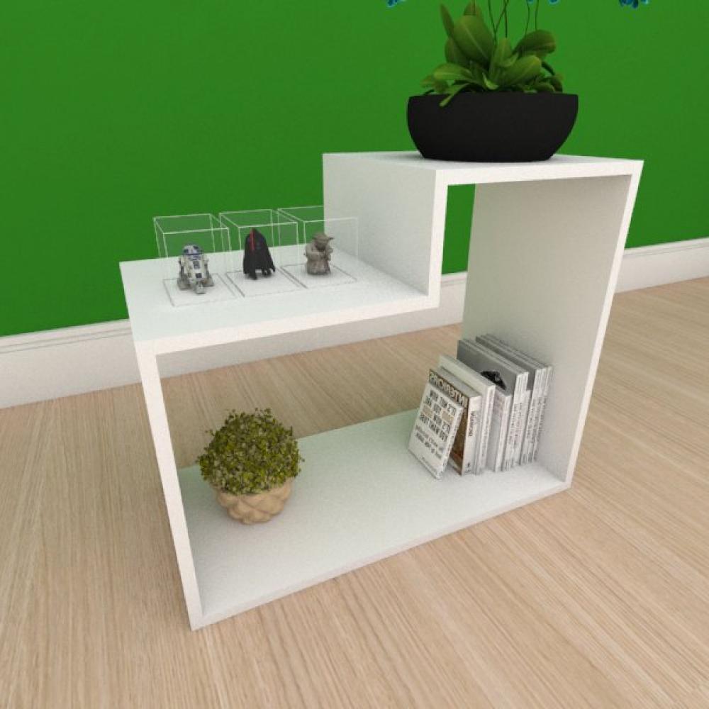 Mesa Lateral moderna simples com nichos em mdf branco
