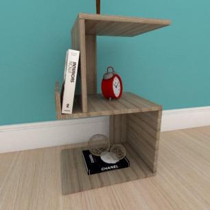 Mesa Lateral com suporte para livros em mdf amadeirado