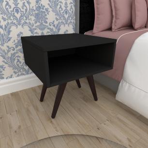 Mesa de Cabeceira em mdf preto com 4 pés inclinados em madeira maciça cor tabaco