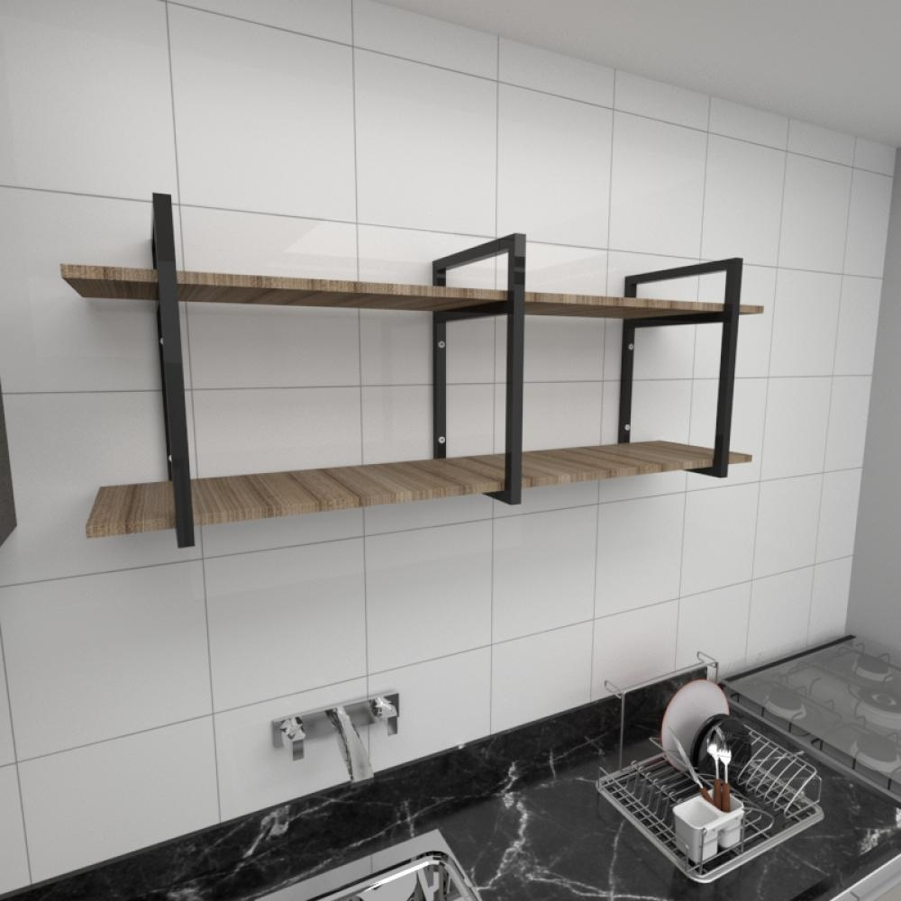 Prateleira industrial cozinha aço cor preto prateleiras 30cm cor amadeirado escuro mod ind05aec