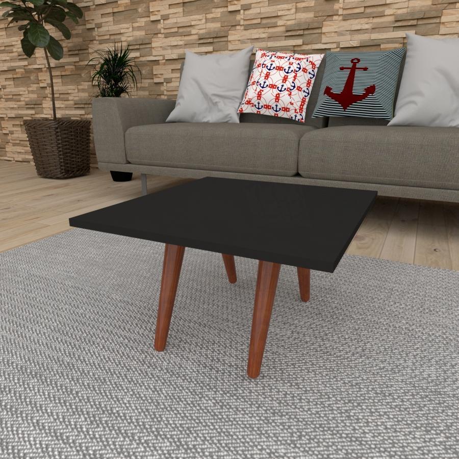 Mesa de Centro quadrada em mdf preto com 4 pés inclinados em madeira maciça cor mogno