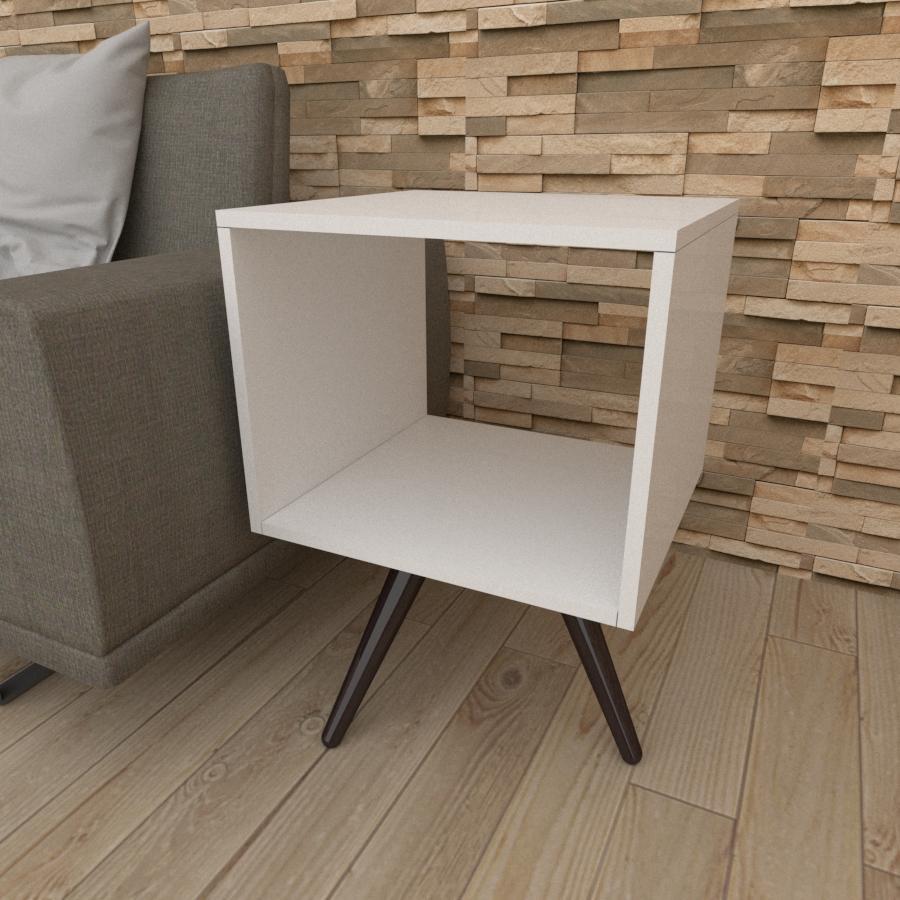 Mesa lateral nicho em mdf branco com 3 pés inclinados em madeira maciça cor tabaco