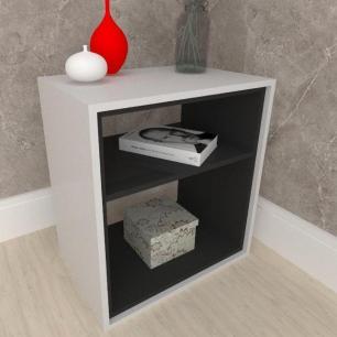 Mesa lateral, mesa de canto, em mdf cinza com preto