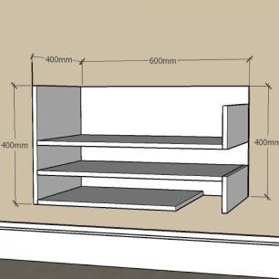 Aparador simples com nichos prateleiras em mdf Cinza