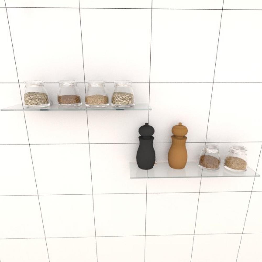 Kit com duas Prateleira para cozinha 40 cm vidro temperado