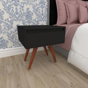 Mesa de Cabeceira com gaveta em mdf preto com 4 pés inclinados em madeira maciça cor mogno