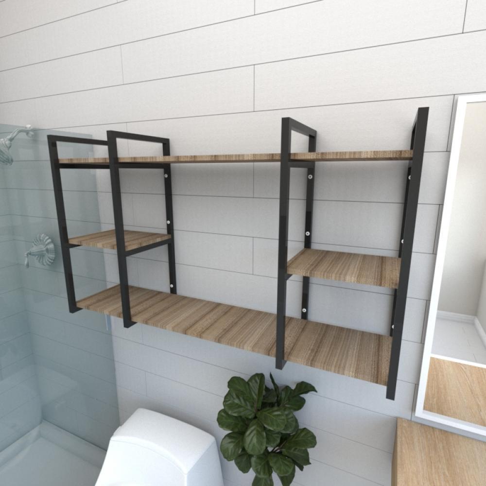 Prateleira industrial banheiro aço cor preto prateleiras 30cm cor amadeirado escuro mod ind17aeb