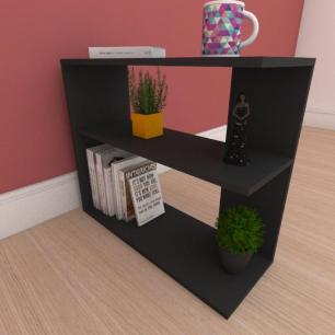 Kit com 2 Mesa de cabeceira com prateleira em mdf preto