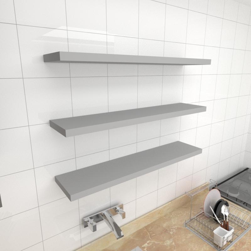 Kit 3 prateleiras para cozinha em MDF suporte Inivisivel cinza 90x20cm modelo pratcc27