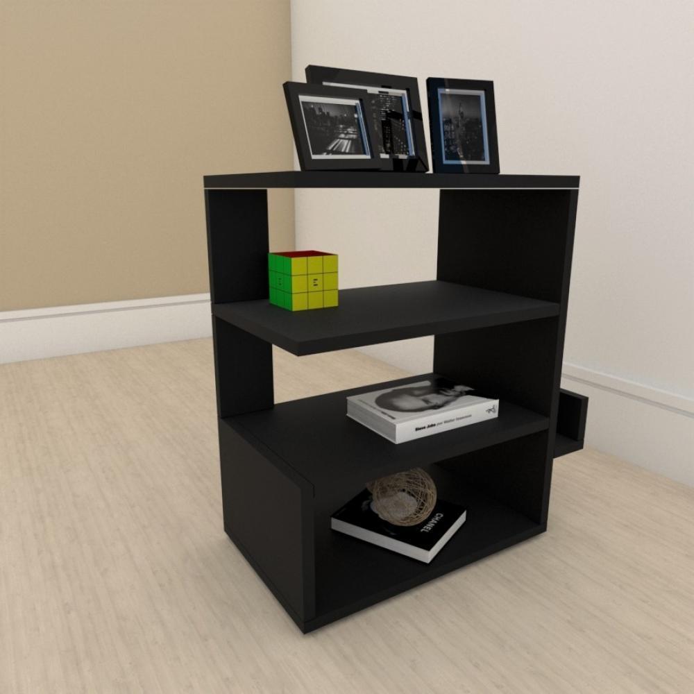 Estante para livros minimalista com nicho em mdf Preto