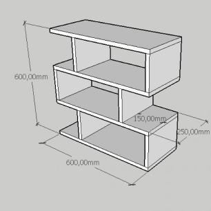 Kit com 2 Mesa de cabeceira compacta tripla em mdf cinza