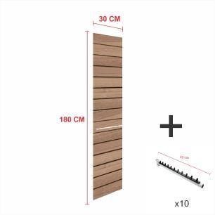 Expositor canaletado amadeirado alt 180 cm comp 30 cm mais 10 ganchos rt 40 cm para roupas