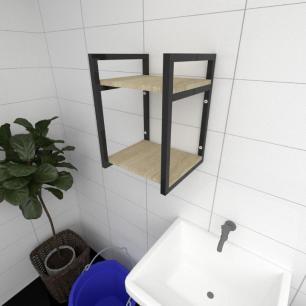 Prateleira industrial para lavanderia aço cor preto mdf 30cm cor amadeirado claro modelo ind24aclav