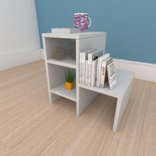 Mesa de cabeceira compacta moderna em mdf cinza