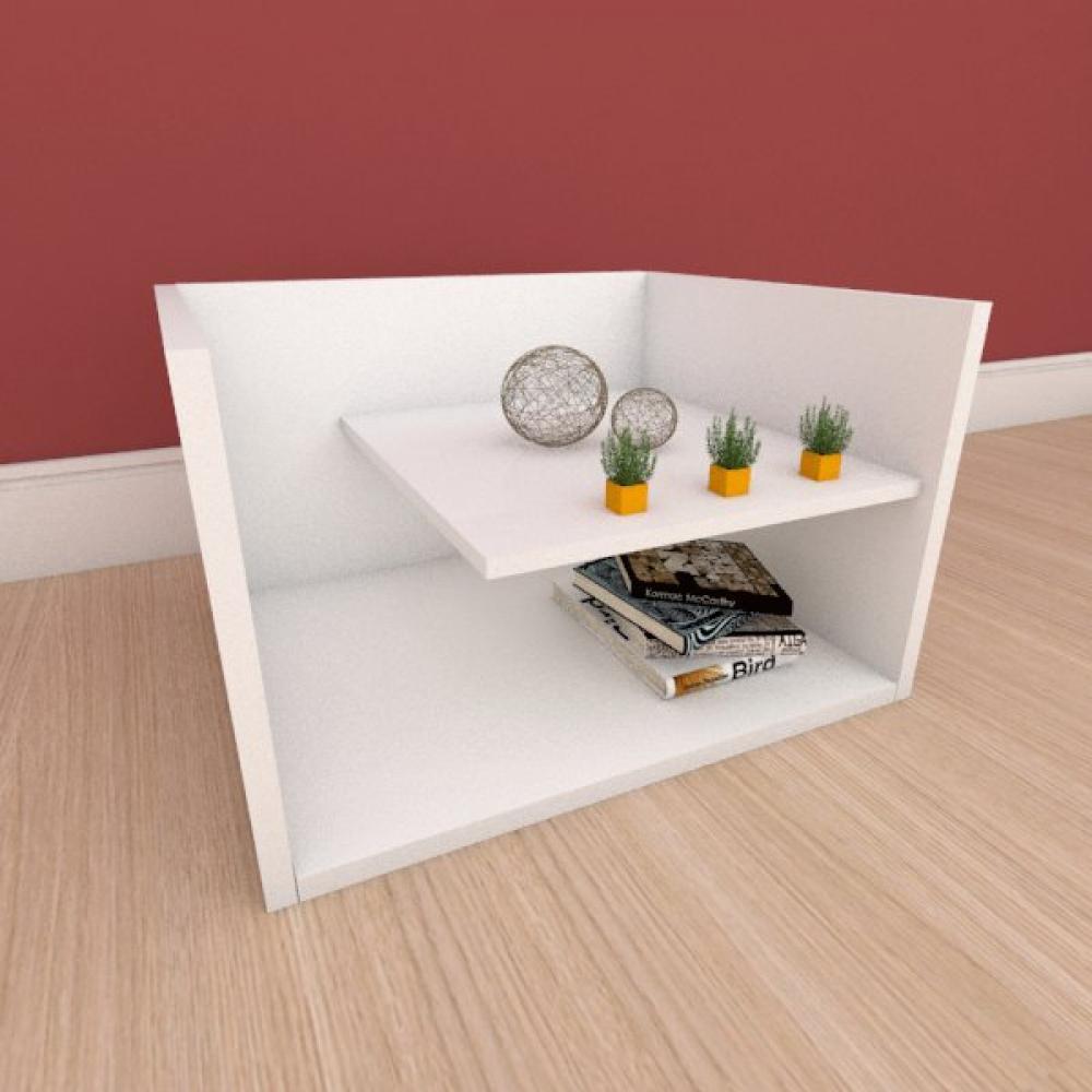Kit com 2 Mesa de cabeceira com prateleiras em mdf branco