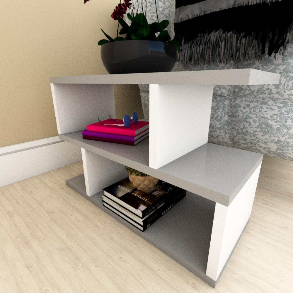 Mesa Lateral para Sofá moderna cinza com branco