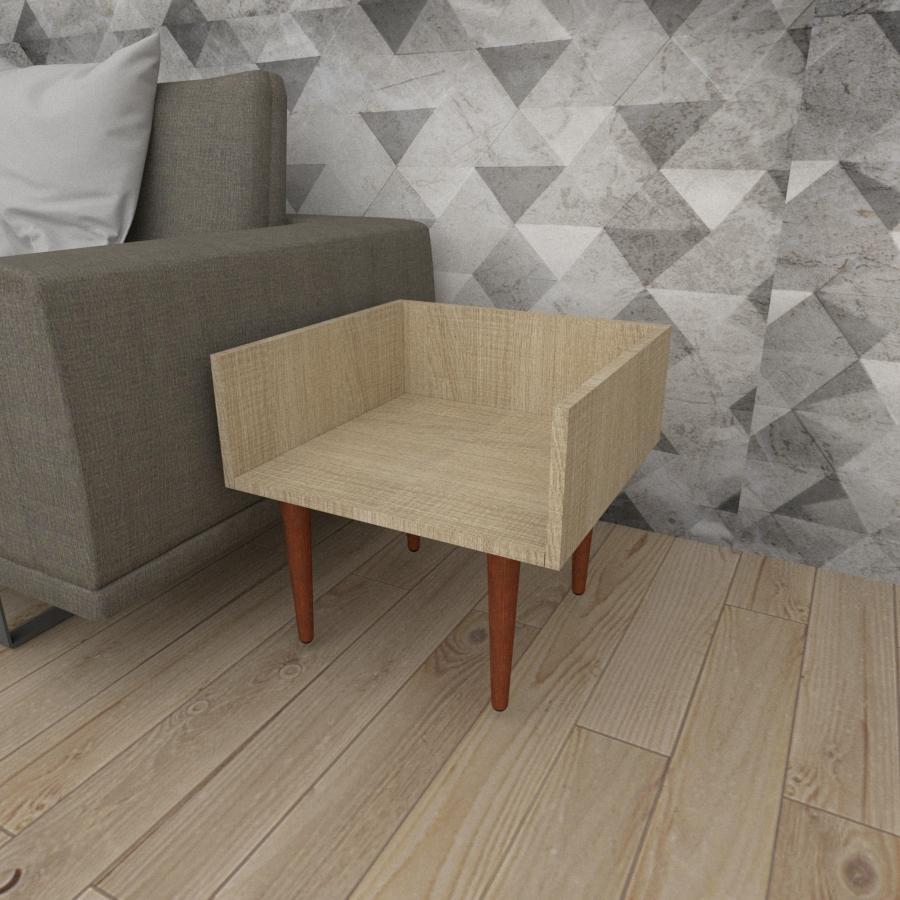 Mesa lateral minimalista em mdf amadeirado claro com 4 pés retos em madeira maciça cor mogno