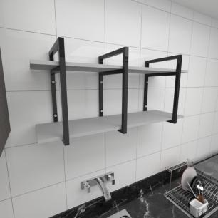 Prateleira industrial para cozinha aço cor preto prateleiras 30cm cor cinza modelo ind20cc