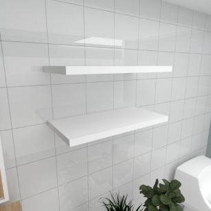 Kit 2 prateleiras para banheiro em MDF suporte Inivisivel branco 60x30cm modelo pratbnb23