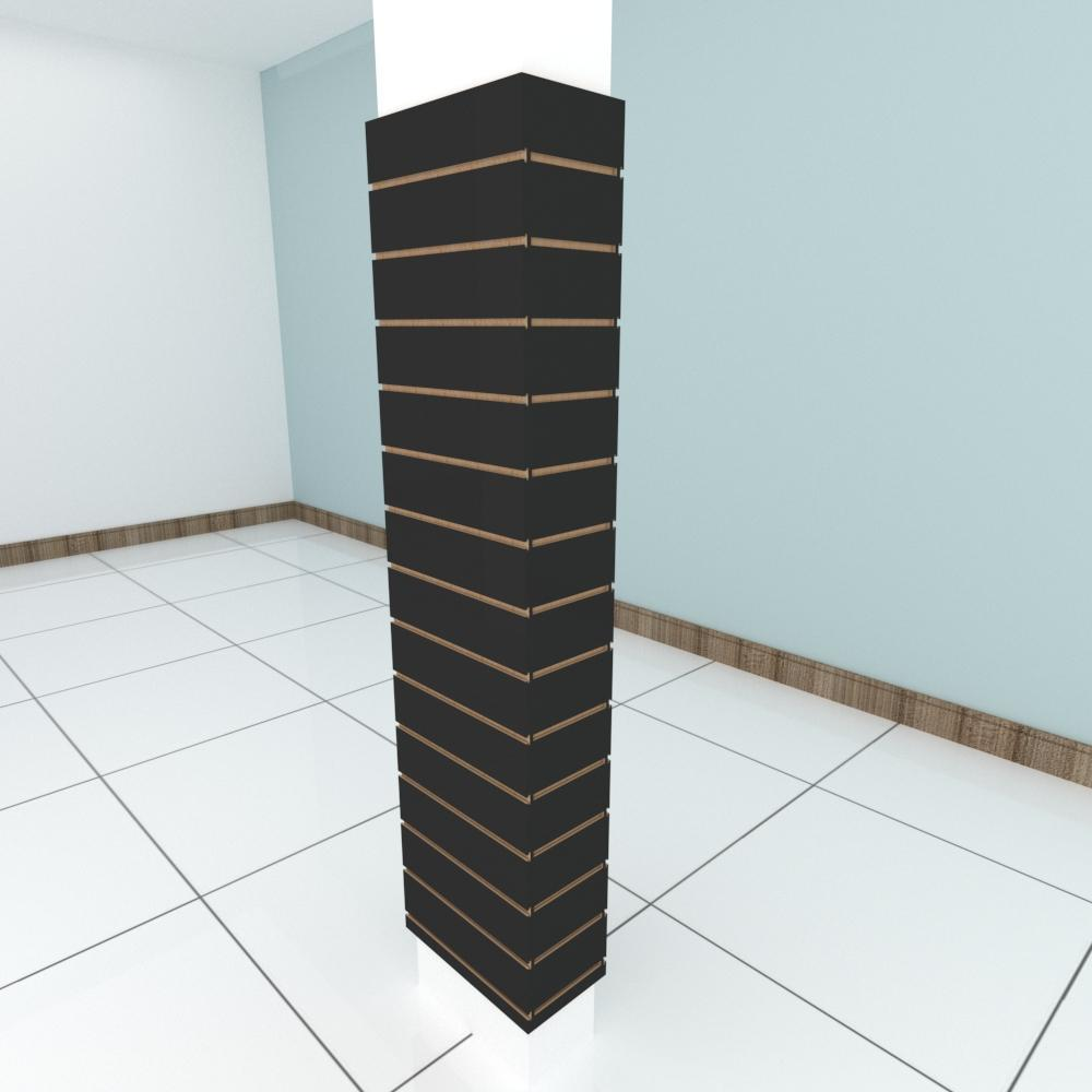 Kit 4 Painel canaletado para pilar preto 2 peças 44(L)x180(A) cm + 2 peças 20(L)x180(A) cm