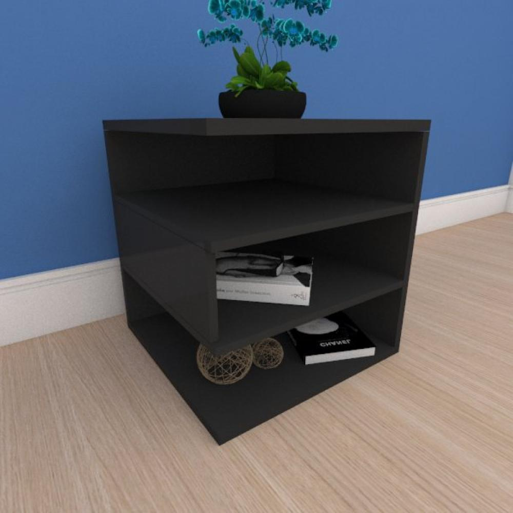 Mesa de cabeceira minimalista com nichos em mdf preto