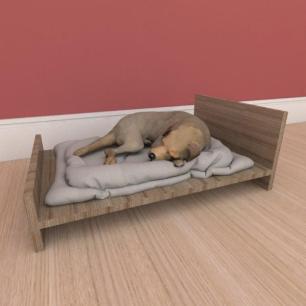Mesa de cabeceira caminha minimalista pequeno cachorro em mdf amadeirado