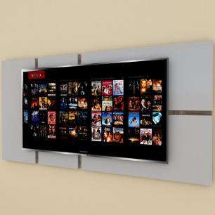 Painel Tv pequeno moderno cinza com amadeirado escuro
