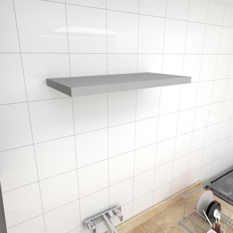 Prateleira para cozinha MDF suporte Inivisivel cor cinza 60(C)x30(P)cm modelo pratcc22