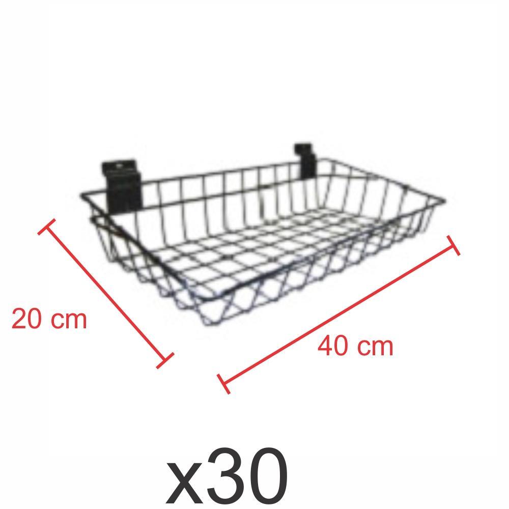 kit para expositor com 30 Cestos para painel canaletado 20x40 cm preto