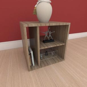 Kit com 2 Mesa de cabeceira slim com nichos em mdf amadeirado